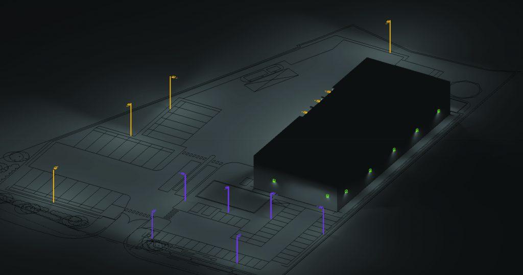 Lighting Design 3D Render Building