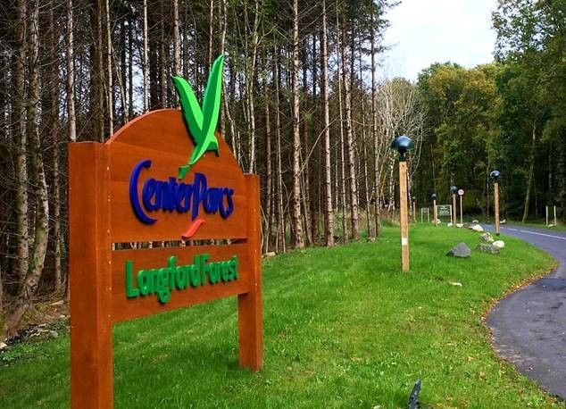 Center Parcs sign with LED light post in background